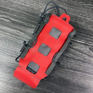 Lightweight water bottle holder that attaches to backpack. The Vanquest HYDRA is expandable for small and large water bottles. Red.