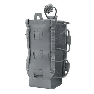 Lightweight water bottle holder that attaches to backpack. The Vanquest HYDRA is expandable for small and large water bottles. Wolf Grey.