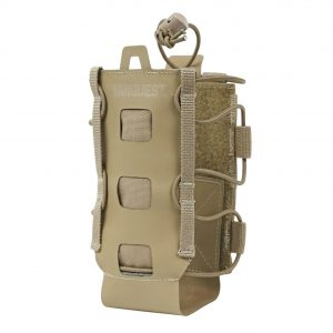 Lightweight water bottle holder that attaches to backpack. The Vanquest HYDRA is expandable for small and large water bottles.